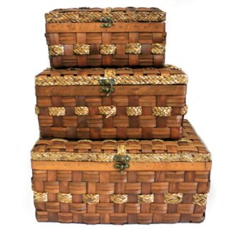 Big Set of 3 Display Chests - Wood Grass - 46x32cm