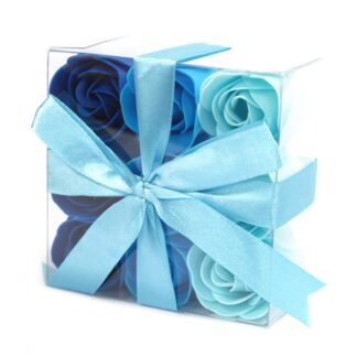 Set of 9 Soap Flowers - Blue Wedding Roses