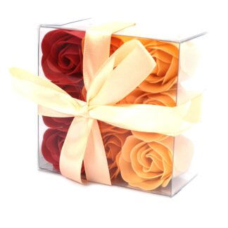 Set of 9 Soap Flower Box - Peach Roses