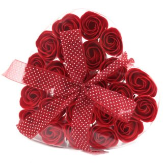 Set of 24 Soap Flower Heart Box - Red Roses