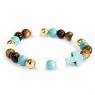 Turquoise Cross / Royal Beads - Gemstone Bracelet