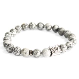 Crown Ingot / Grey Agate - Gemstone Bracelet
