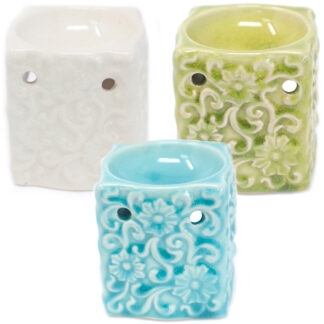 Classic Small Square Floral Oil Burners (aast)