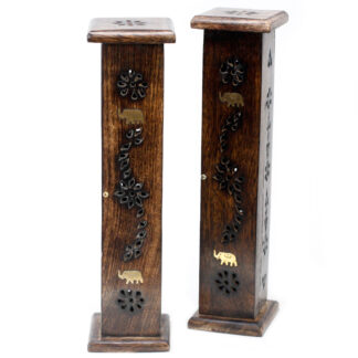 Square Incense Tower - Brass inlay - Mango Wood