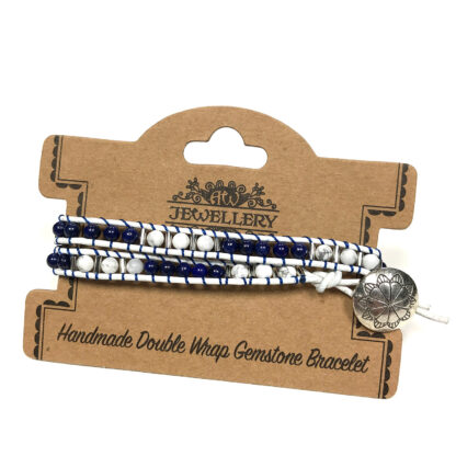 Double Wrap Bracelet - Navy Style with Lapis