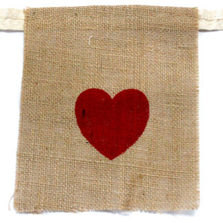 Natural Bunting  I LOVE YOU (large with hearts)