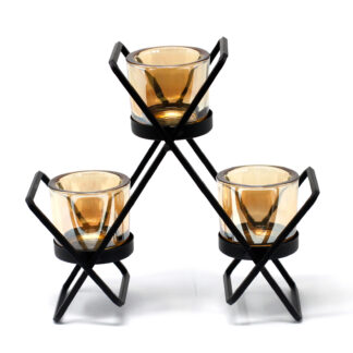 Centrepiece Iron Votive Candle Holder - 3 Cup Triangle