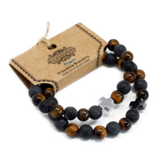 Set of 2 Gemstones Friendship Bracelets - Power - Tiger Eye & Black Stone
