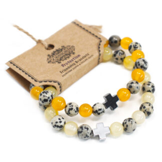 Set of 2 Gemstones Friendship Bracelets - Protection - Dalmation Jasper & Yellow Agate