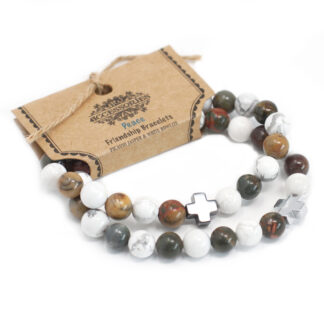 Set of 2 Gemstones Friendship Bracelets - Piece - Picasso Jasper & White Howlite