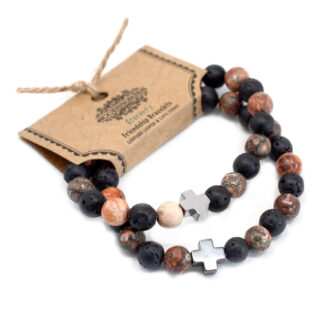Set of 2 Gemstones Friendship Bracelets - Ethernity - Leopard Skin Jasper & Lava Stone