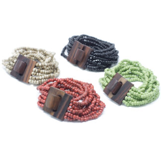 Multi-Bead Bangle Wooden Clasp - Assorted Colours