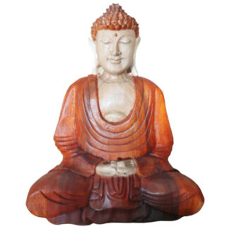 Hand Carved Buddha Statue - 30cm Hand Down