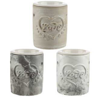 Concrete Love Heart Oil Burner