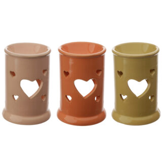 Tall Ceramic Eden Oil and Tart Burner with Heart Cut-out