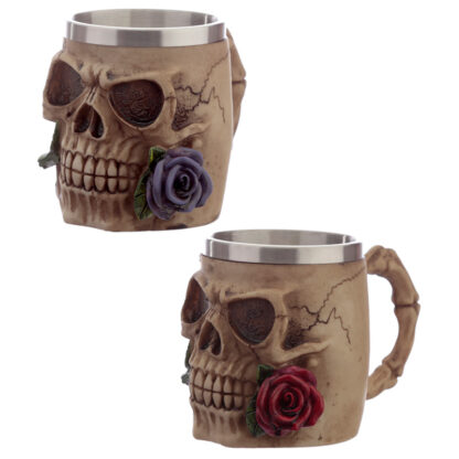 Decorative Skulls and Roses Tankard