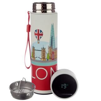 London Icons Stainless Steel Digital Thermometer Insulated Drinks Bottle