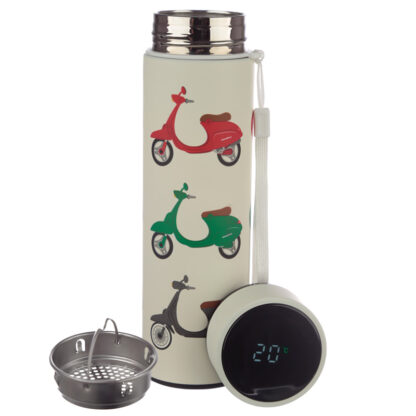On Two Wheels Scooter Stainless Steel Digital Thermometer Insulated Drinks Bottle