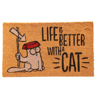 Simon's Cat Coir Door Mat - Life is Better With A Cat