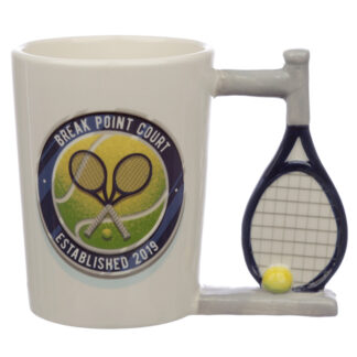 Fun Tennis Racket Shaped Handle Ceramic Mug