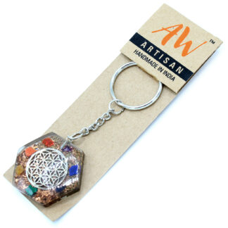 Orgonite Power Keyring - Octagon Flower of Life