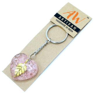 Orgonite Power Keyring - Rose Quartz Heearts Golden Leaf