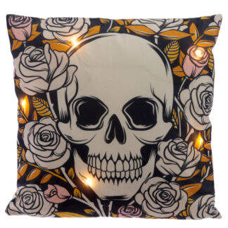 Decorative LED Cushion - Skulls and Roses