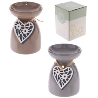 Ceramic Oil Burner - Wooden Heart Motif