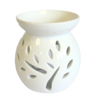 Sm Classic White Oil Burner - Tree Cut-out