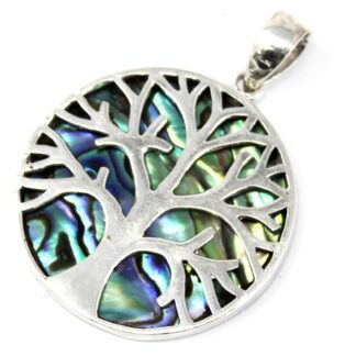 Tree of Life Silver Pendant 30mm - Abalone
