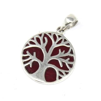 Tree of Life Silver Pendant 22mm - Coral Effect