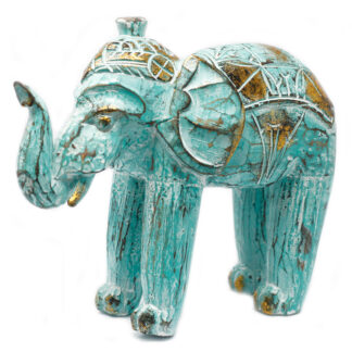 Wood Carved Elephant - Turquois Gold