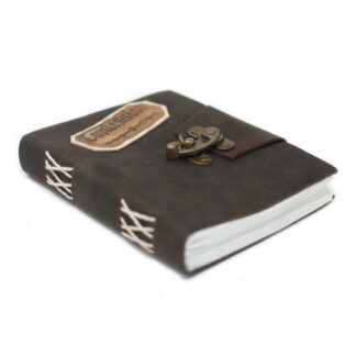 """Leather Black Confessions with Lock Notebook (7x5"""")"""
