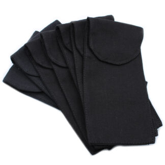 Cotton Pouch for Gemstone Face Rollers 10oz - Black 9x19xm