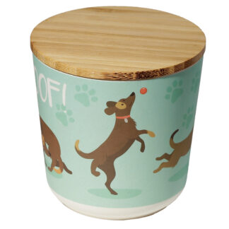 Small Bamboo Composite Storage Jar Catch Patch Dog