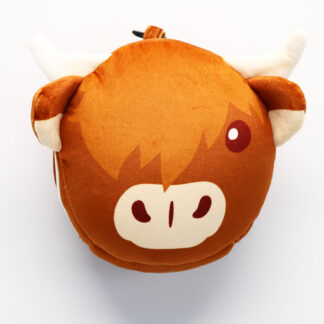 Highland Coo Cow Relaxeazzz Plush Round Travel Pillow  and  Eye Mask Set