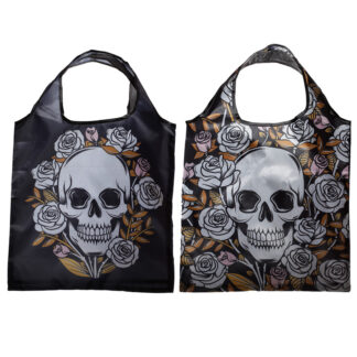 Handy Fold Up Skulls  and  Roses Shopping Bag with Holder