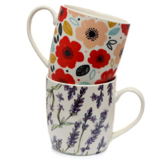Set of 2 Porcelain Mugs - Poppy  and  Lavender Pick of the Bunch