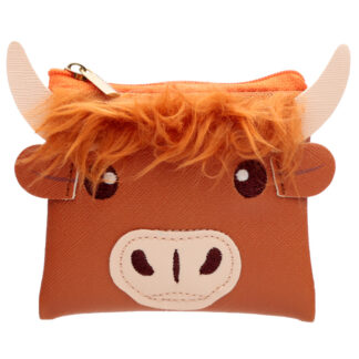 Handy PVC Purse - Highland Coo Cow with Fluffy Fringe