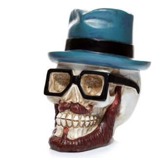 Collectable Money Box - Skull in Glasses and Trilby Hat