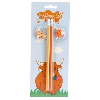 Highland Coo Pencil with Charms Set of 2