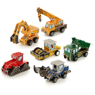 Fun Kids Pull Back Construction Truck Puzzle Toy